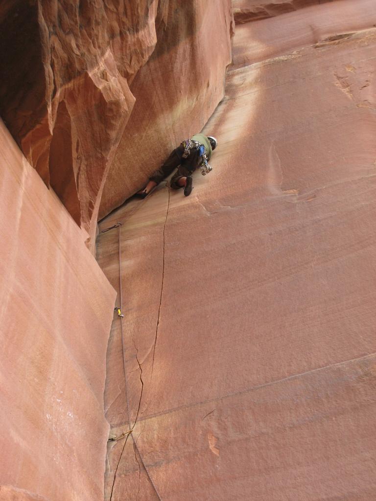 Matt R. cruising through the crux overhanging corner on Incredible Handcrack (5.10-)