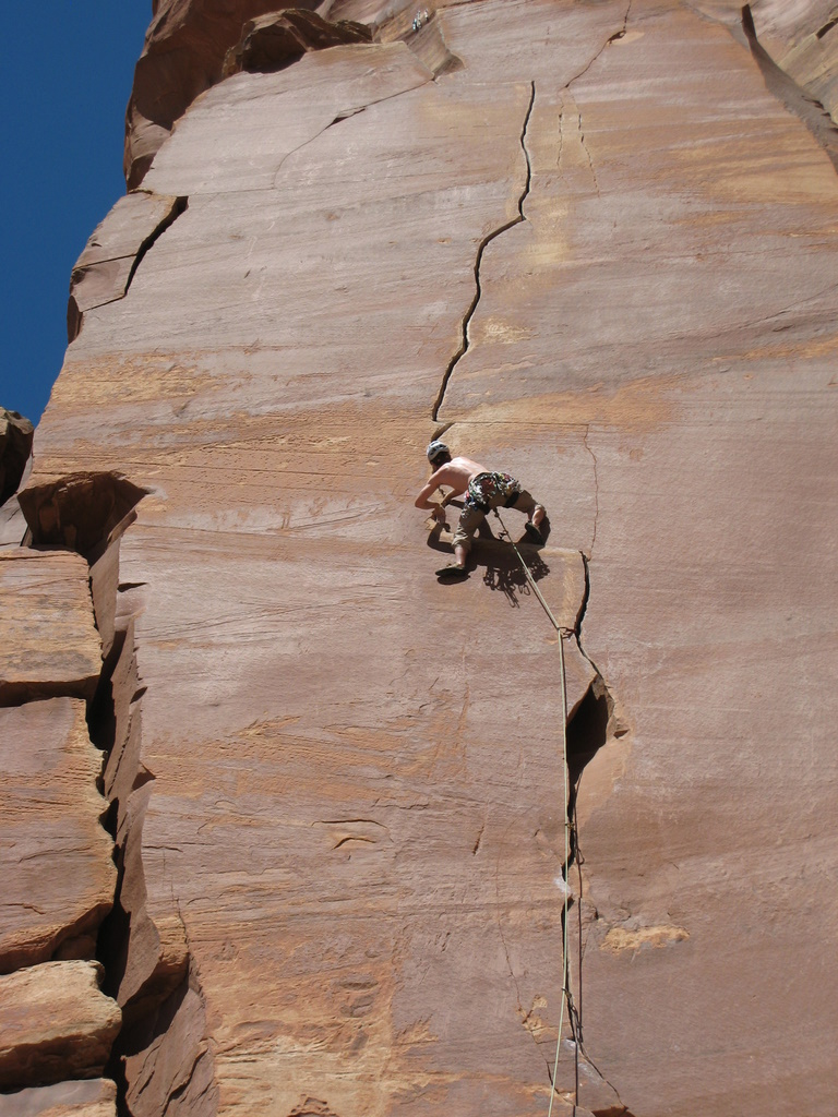 Tad moving past the first traverse on Way Rambo (5.12-)