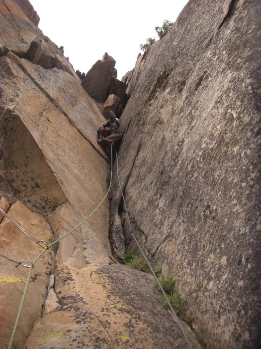 Pitch 3, (the money pitch) on East Corner. 5.10a hands in a flaring corner