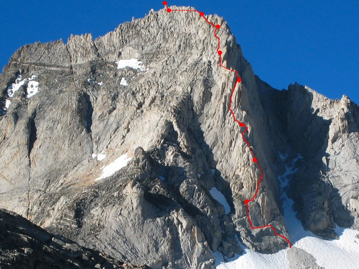 North Arete (5.8) with our route & belays